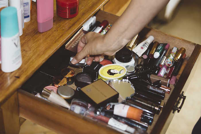 Just one of Millie's jam-packed makeup drawers.